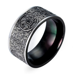 Chinese  Personality Punk Titanium Steel Rings Round Shape Black Vintage Pattern Rings Men Business Type Fashion Jewelry Accessories Wholesale manufacturers