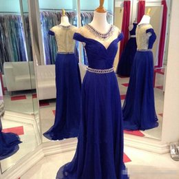 Barato Vestido Elegante Mini Luxo-Real Foto Azul Royal Chiffon Beaded Prom Dresses 2017 mangas curtas Sheer Back Detalhes Luxo Elegant Long Evening Partido Formal Wear Vestidos