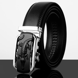 $enCountryForm.capitalKeyWord Canada - Wholesale- Luxury alligator belt cowhide Leather men belt black fashion Automatic buckle belts 110cm-130cm