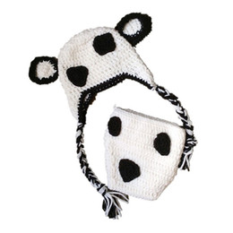 cute girls photo UK - Super Cute Newborn Cow Costume,Handmade Knit Crochet Baby Boy Girl White Black Animal Hat and Diaper Cover Set,Infant Photo Prop