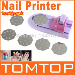 Machine À Ongles En Gros Pas Cher-Vente en gros Nail Art Printing Machine Machine à imprimer en couleur DIY Polish Stamp 6 Pcs Pattern Template Kit Set Digital Nail Printer