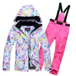 Pad Jacket Canada - Wholesale- Women's Skiing Suit Windproof Mountain Fleece Padded Ski Jackets and Pant set Winter Snow Thicken Board Snowsports Clothing