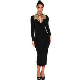 Robe Noire Manche En Argent Pas Cher-Happy Sailed Autumn Black avec or Silver Mock Neck manches longues Sequins vente chaude new sexy fashion women Pencil Medium Dress