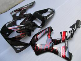 Honda cbr929rr fairing red injection online shopping - Injection mold hot sale fairing kit for Honda CBR900RR red flames black fairings set CBR929RR OT11