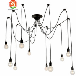 Discount modern bedroom lights - Modern Nordic Retro Edison Chandelier Lighting Vintage Loft Antique Adjustable DIY E27 Spider Pendant Hanging Lamp Home