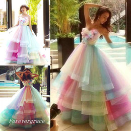 Robes De Soirée Colorées Et Tailles Pas Cher-2017 Long Rainbow Colorful Robe de bal Sweetheart Tiered Tulle Evening Party Gown Custom Made Plus Size