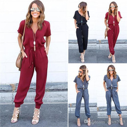 Barato Vestuário De Cintura Alto-Mulheres Sexy V-neck Rompers Jumpsuit Short Sleeve High Cintura Draw String Chiffon Playsuit Bodysuit Party Club Jumpsuit Mulheres Casual Calças