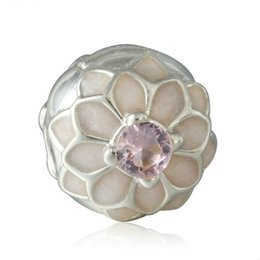 Authentic Flowers Australia - Pink Crystal Blooming Dahlia Clip Charms Bead Authentic 925 Sterling-Silver-Jewelry Flower Stopper Lock Beads Fit DIY Brand Bracelets