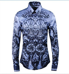 highest quality digital prints UK - Free Shipping 2017 New Arrival Fashion Ink Pattern Digital Printing Famous Style High Quality Mens Slim Long-sleeved Casual Shirt Hot Sale