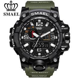 0e5ce76d0088 SMAEL Marca Relojes Deportivos Hombres Reloj de Camuflaje Militar de Doble  Hora Hombres Ejército LED Reloj Digital 50M Reloj Impermeable de Hombres