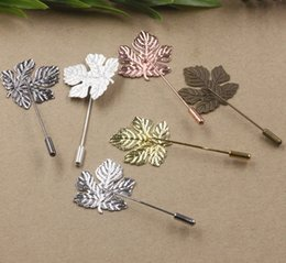 a923cd6952e 50MM 29*32MM Silver Rose gold Antique bronze metal maple leaf lapel pin for men  suits, fashion Canadian badge long brooch stick pin jewelry