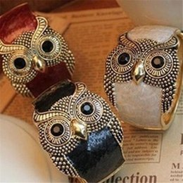 Cheap Halloween Accessories Canada - Top Fashion Owl Bangles Alloy Enemal Women Cuff Bangle Charms Bracelet Mix Colors Cheap Wholesale Lady Jewelry Accessories