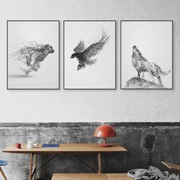 art deco canvas prints Canada - Black White Ink Wild Animal Horse Eagle Wolf Poster Nordic Living Room Wall Art Print Picture Home Deco Canvas Painting No Frame