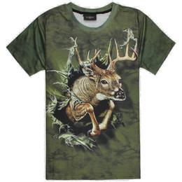 $enCountryForm.capitalKeyWord NZ - Deer T shirt 3D design short sleeve Break wall tees Street cool clothing Unisex cotton Tshirt