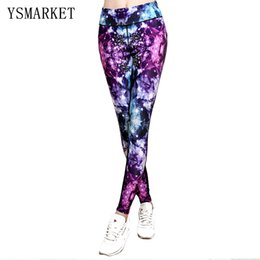 Barato Leggings Galaxy Hot-2017 Hot Women's Sexy Slim Athletic Fitness Leggings Plus Size XL XXXL Casual Fashion Hollow Out Galaxy Print Calças 77009