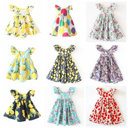 Cherry Dress 4t Canada - Cute Baby Girls Clothes Summer Children Dresses Fashion Backless Hem Cherry Lemon Fruit Short sleeves Floral Beach Dress Kids Clothing