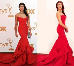 Robe De Célébrités Livraison Gratuite Pas Cher-Livraison gratuite! Red Mermaid 2017 Robes de soirée formelles Sweetheart Awards Celebrity With Strapless Ruffles Backless Gowns Prom