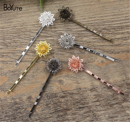 girls silver hair accessories Canada - BOYUTE 20 Pieces HOT SALE Hansenne Filigree Flower Hairpin 6 Colors Plated Fashion Girls Hair Accessories