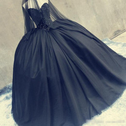 Red black sleeveless gothic pRom dRess online shopping - Gothic Black Prom Masquerade ball Gowns Fully Beaded Sweetheart Puffy Tulle Vintage Quinceanera Dresses for Halloween Real Photo