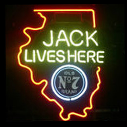 China Fashion New Handcraft Jack Lives Here WISCONSIN OLD #7 WHISKEY Real Glass Beer Bar Display neon sign 19x15!!!Best Offer! suppliers