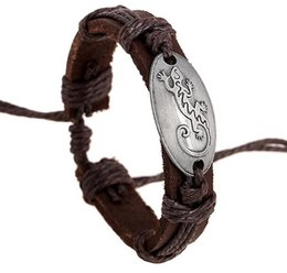 leather housing UK - 100% Genuine leather alloy Exorcise evil spirits House lizard Bracelet Retro Leather Bracelet Men women Adjustable Couple Bracelet