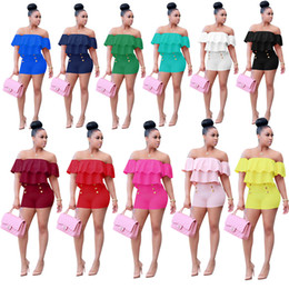 Nouveau Survêtement De Mode Pour Femme Pas Cher-2 pièces Set 2017 Nouvelle mode d'été Nouveau Slash Neck Women Tracksuits Lotus Folds Tops + Shorts Suit Solid Color Two Sets 11 Couleurs