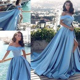 Sexy back cutout prom dreSSeS online shopping - 2018 Sky Blue Prom Dresses A Line High Split Cutout Side Slit Top Off Shoulder Backless Sexy Formal Party Evening Gowns