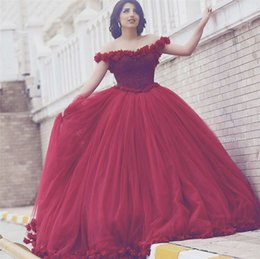 flower ball navy 2019 - Arabian Design Scoop Beaded Pearls Flowers Off the Shoulder Red Prom Dresses Ball Gown Princess Evening Dresses 2019 dis