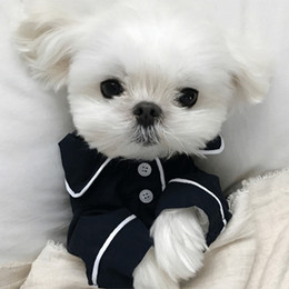Wholesale Small Dog Supplies Apparel V Secret Pet Puppy pajamas button Black White Blue Pink Clothes poodle Bichon Frise bulldog Softfeeling Shirts