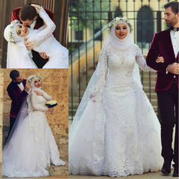 HigH neck arab dresses online shopping - Arab Hijab Saudi Arabia Modest Muslim Wedding Dresses Long Sleeve Lace Beads Over Skirt Mermaid Bridal Gowns With Sleeves