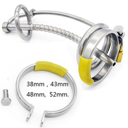 chastity locks for males 2019 - New Metal Male Chastity Devices Cock Cages with Catheter Catheters & Sounds Lock Penis Ring Chastity Cage Penis Plug Sex