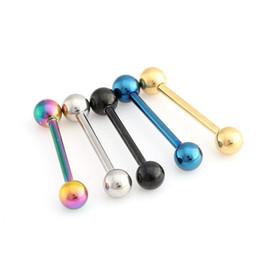 Neue Zunge Ringe Körper Schmuck 14/16/19mm 316 Titan Stahl Lippen Zunge Ring Bar Bauch Piercing Schmuck Coole Modeschmuck 5 Farben im Angebot