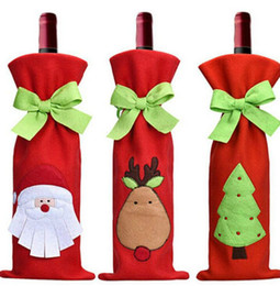 BamBoo taBle cloths online shopping - 2018 Christmas Decoration Wine Bottle Bags with Bow Wine Bottles Covers Bags Christmas Dinner Table Decoration for Home Party