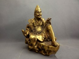 $enCountryForm.capitalKeyWord Australia - Chinois Bouddhisme Cuivre Siège Saint Moine Bouddha Vivant Ji Gong Tenir Fan Statue