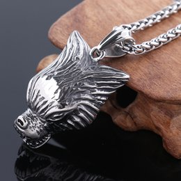 $enCountryForm.capitalKeyWord Canada - High Quality Wild Wolf Spirit head Pendants Necklace 316L Stainless Steel Wizard Witcher Norse Vikings Jewelry NP860