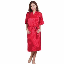China Wholesale- Summer Red Women Silk Sexy Lingerie Robe Chinese Traditional Lady Sleepwear Vintage Kimono Gown Solid Color Plus Size XXXL A-049 cheap lady s summer lingerie suppliers