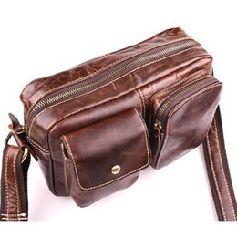 Free Shipping Men Shoulder Bags Canada - 2017 new arrival man men real genuine first layer leather causal shoulder cross body bag messenger bag free shipping