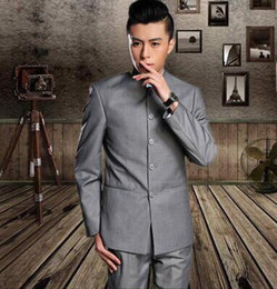 Collar Chinese Tunic Suit Canada - 2017 new arrival clothing slim men chinese tunic suit set with pants mens suits wedding groom formal dress stand collar black