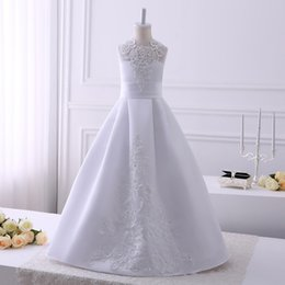 Barato Party Girls Vestido Fotos-2017 Real Pics Lace Appliques Flower Girl Vestidos para o casamento Comprimento do assoalho sem mangas Casamento Casamento Party Gown Custom Made