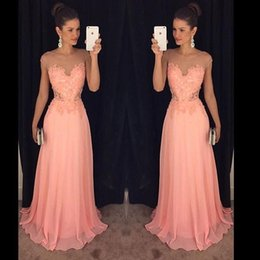 $enCountryForm.capitalKeyWord Canada - Hot Sale Long Chiffon Prom Dresses Sheer Neck Lace Appliques A Line Formal Evening Gown Party Dress