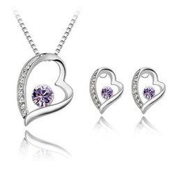 925 silver austria crystal online shopping - Austria Crystal Women Pendant Necklace Jewelry Hearts Set Silver Earring Crystal Pendant Necklace Jewelry Fit Wedding Gift