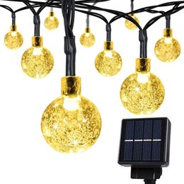 Wholesale 20 Ft Crystal Balls Waterproof LED Fairy Lights Outdoor Starry Light Solar Powered String Lights Decorative Lighting for Christmas Garden