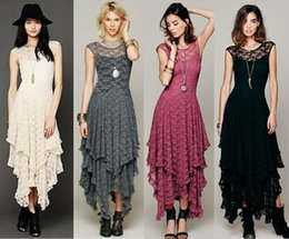 Wholesale Femmes Boho People Hippie Style Lrregular Lace Dress Sexy Long Dress Double Layered Ruffled Trimming Low V Back