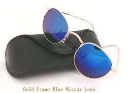 $enCountryForm.capitalKeyWord NZ - 1pcs Mens Womens Round Sunglasses Eyewear Sun Glasses Designer Gold Metal Blue Flash Mirror 50mm Glass Lenses With Black Case Grey Box