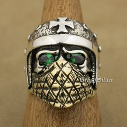 Discount motorcycle helmet sizes LINSION 925 Sterling Silver Motorcycle Helmet Skull Ring Green CZ Eyes Brass Mask Mens Biker Rock Punk TA25 US Size 7 to 15