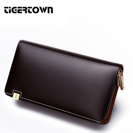 new long hand bags 2019 - Wholesale- TigerTown 2017 New Men's Fashion 100% Cowhide Genuine Leather Casual Zipper Large Capacity Phone Wallet
