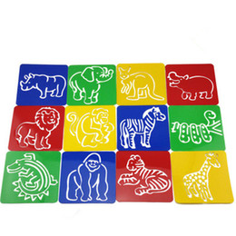 wholesale 12designs set stencils for painting zoo animal kids drawing templates plastic boards baby hot toys for children 128x128x06mm - Kids Drawing Stencils