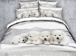 $enCountryForm.capitalKeyWord Australia - Hot Fashion Design Four White Dogs 3D Printed Fabric Cotton Bedding Sets Twin Full Queen King Size Dovet Cover Pillow Shams Comforter Animal
