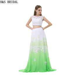 lovely chiffon prom dresses UK - Two Pieces Rainbow Prom Dresses White Green Lace Appliques Long Girls Lovely Party Gowns Fashion Real Photos Evening Dresses B024