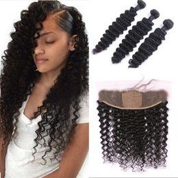 silk frontal bundles 2019 - Cambodian silk base frontal with 3 bundles deep wave human hair extensions with frontal closure G-EASY cheap silk fronta
